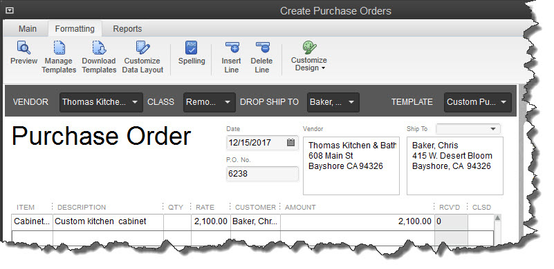 Customizing QuickBooks Purchase Orders Maryland CPA Bayside – Purchase Order for Services Template