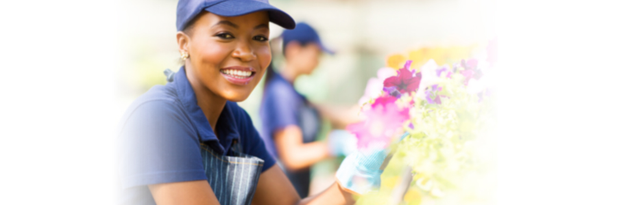 Woman working with flowers