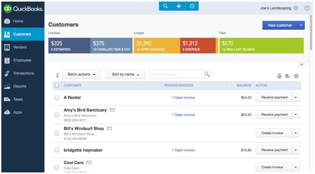 QBO, QuickBooks Online screenshot